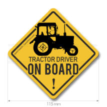 Tractor driver ONBOARD - Traktoros matrica (115mm | sárga)